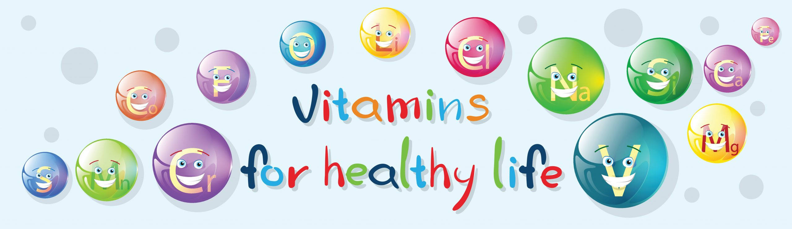 Vitamins Nutrient Minerals Colorful Banner Healthy Life
